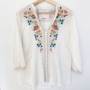 Johnny Was White Embroidered Blouse